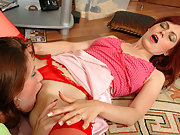 Smashing looking lesbians rubbing against each other right on the floor