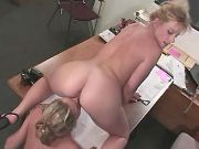 Lesbo secretary licks out hot chick